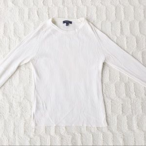 Burberry Ribbed White Sweater With Side Buttons